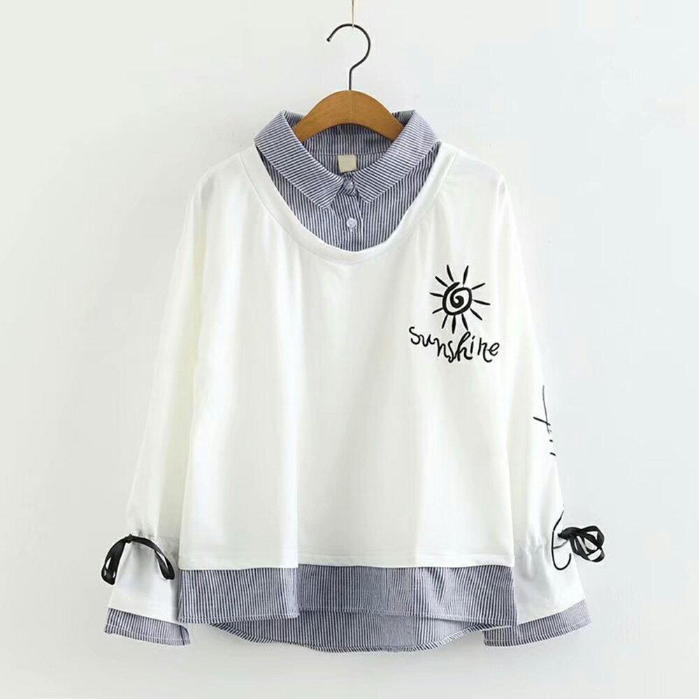 翻領太陽花刺繡寬鬆假兩件長袖衛衣(2色M~L)【OREAD】 2