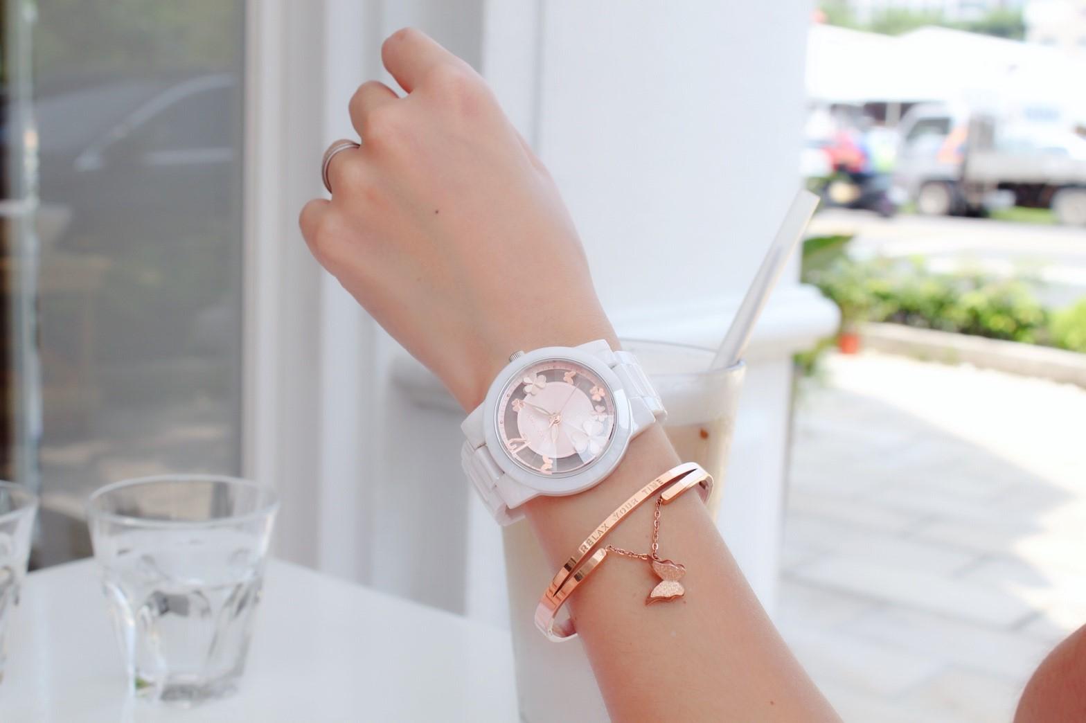 ►聖誕節禮物◄ RELAX TIME RT-80-3 Garden系列 鏤空陶瓷腕錶 送手環 玫瑰金 38MM 2