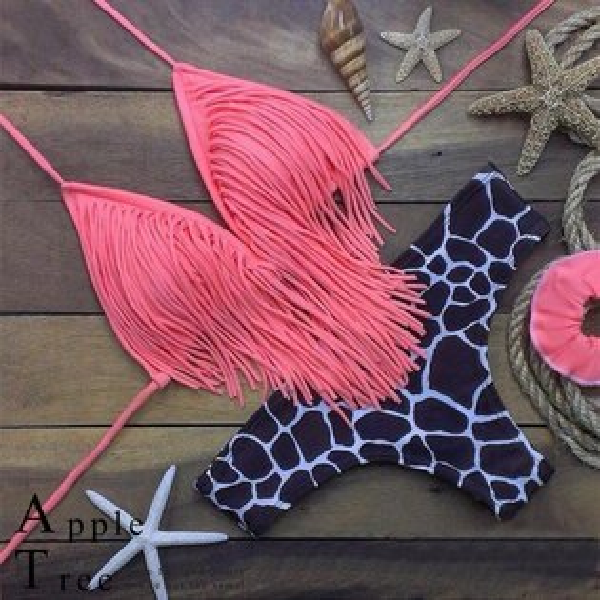 AT日韓-巴西性感款,粉紅豹紋流蘇兩件套比基尼泳裝【804028】