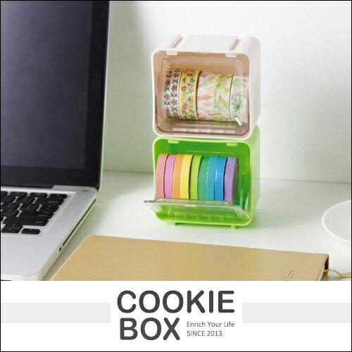 迷你 可疊加 桌面 膠帶 收納盒 (隨機出貨) 紙膠帶 置物盒 膠帶盒 盒子 透明 防塵 文具 *餅乾盒子*