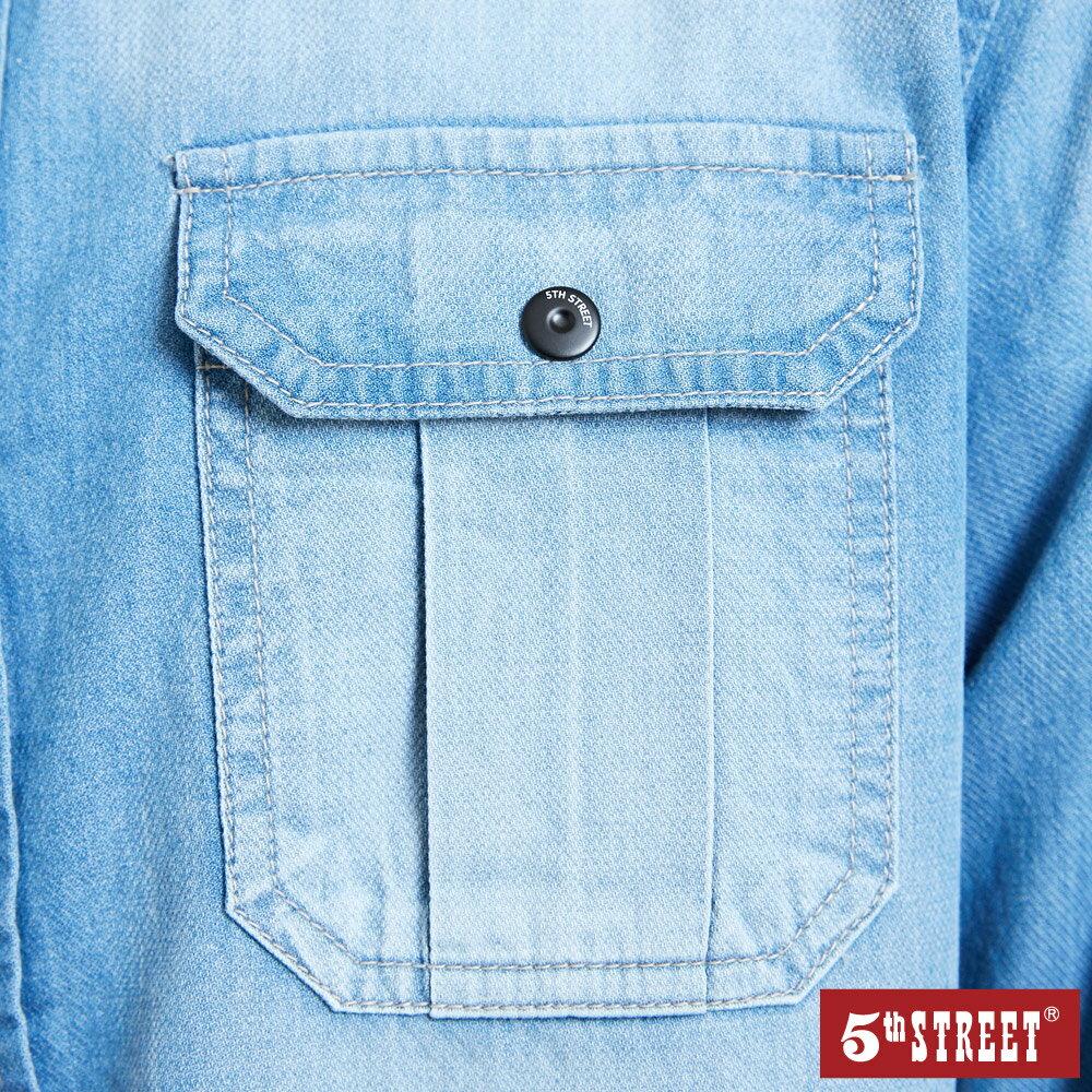 【5th STREET】男貼袋牛仔襯衫-拔洗藍 5