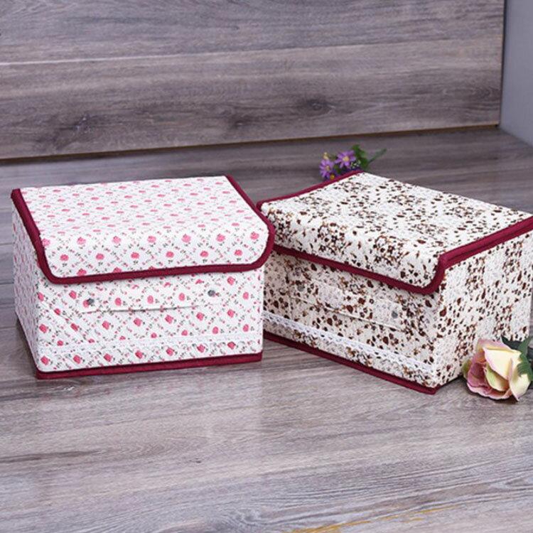 收納箱【BNA053】花朵棉布蕾絲收納盒8L 衣物收納箱 小物收納箱 文具收納箱 仿麻布收納箱-收納女王