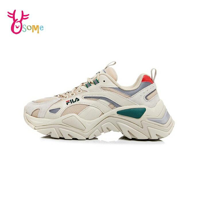 FILA老爹鞋 女鞋 增高厚底鞋 韓版 復古老爹鞋 休閒運動鞋 穿搭 INTERATION D9996#米綠◆OSOME奧森鞋業