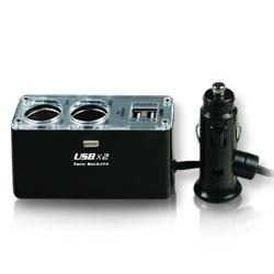 【迪特軍3C】車用雙USB電源+兩孔擴充電源組 (IP-C-USB2)