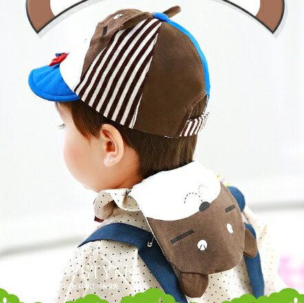 Lemonkid◆可愛眯眯熊造型雙層吸汗純綿紗布兒童吸汗巾-咖啡