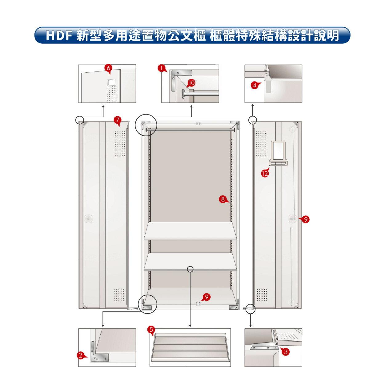 【大富】HDF 新型多用途置物公文櫃系列(雙開門) HDF-SC-014(附鑰匙鎖)收納櫃 置物櫃 公文櫃 鑰匙櫃