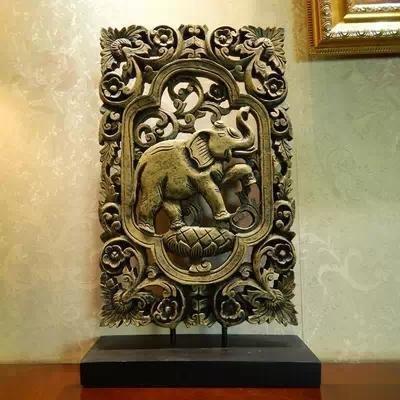【新】中式古典鏤空雕花大象裝飾擺件 歐式辦公書房玄關擺設禮品