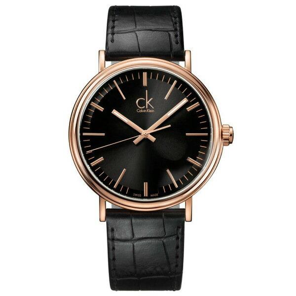 CK 環繞系列(K3W216C1)質感黑玫瑰金時尚腕錶/黑面42.8mm