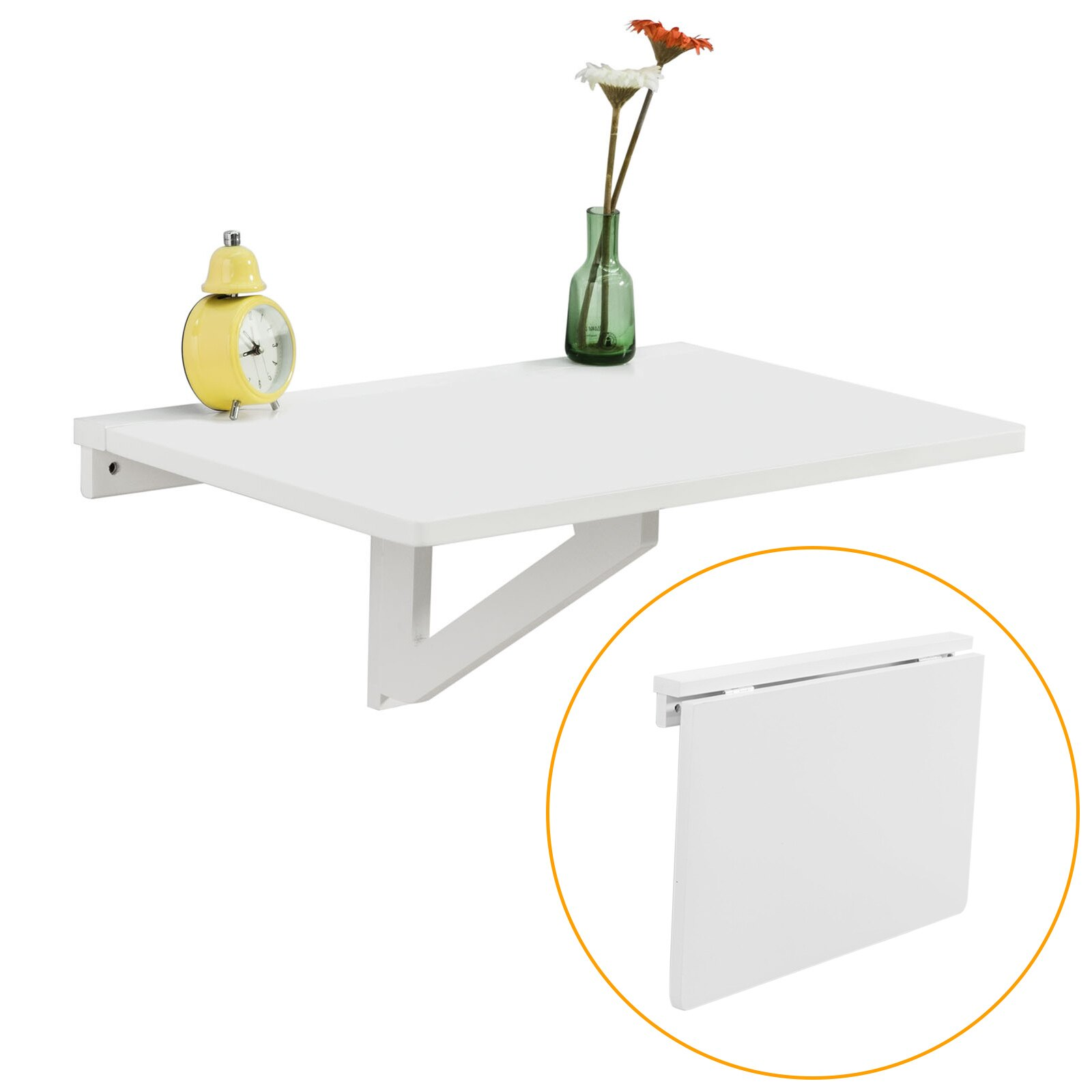 Haotian Wood Wall Mounted Drop Leaf Table, Folding Kitchen U0026 Dining Table  Desk