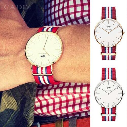 【Cadiz】瑞典正品 Daniel Wellington 手錶 0112DW玫瑰金 0212DW銀色 CLASSIC EXETER 紅藍白尼龍錶帶 40mm 兩年保固