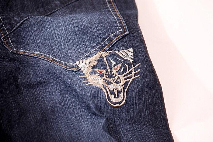 【CS衣舖 】台灣製造 刺繡 精品質感 超彈力 透氣 牛仔長褲 6561 8