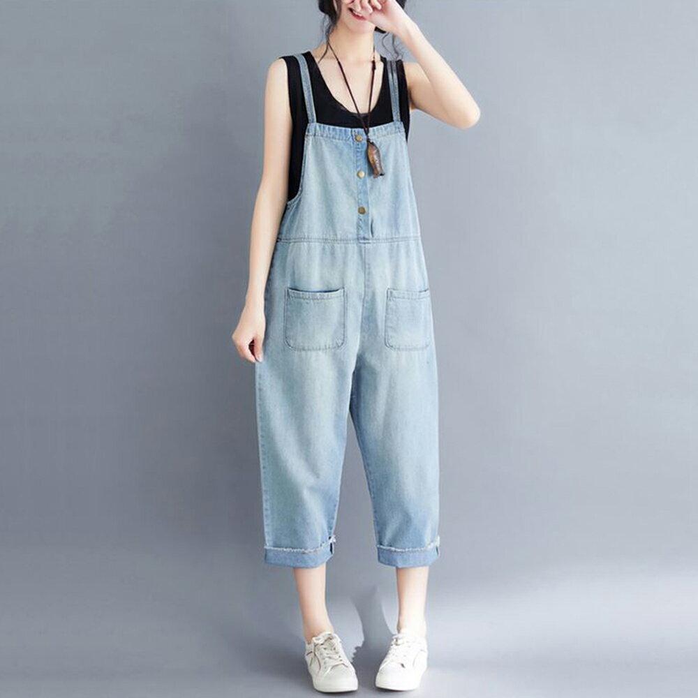 文藝大碼背帶牛仔褲(藍色S~3XL)【OREAD】 1
