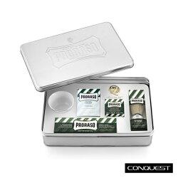 【 CONQUEST 】義大利 PRORASO 沁涼綠薄荷系列 經典修容禮盒組 刮鬍工具鬍後保養一盒搞定 高質感鐵盒包裝