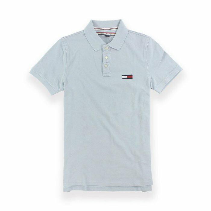 美國百分百【全新真品】Tommy Hilfiger Polo衫 TH 短袖 上衣 素面 網眼 大logo S號 淺藍 I387
