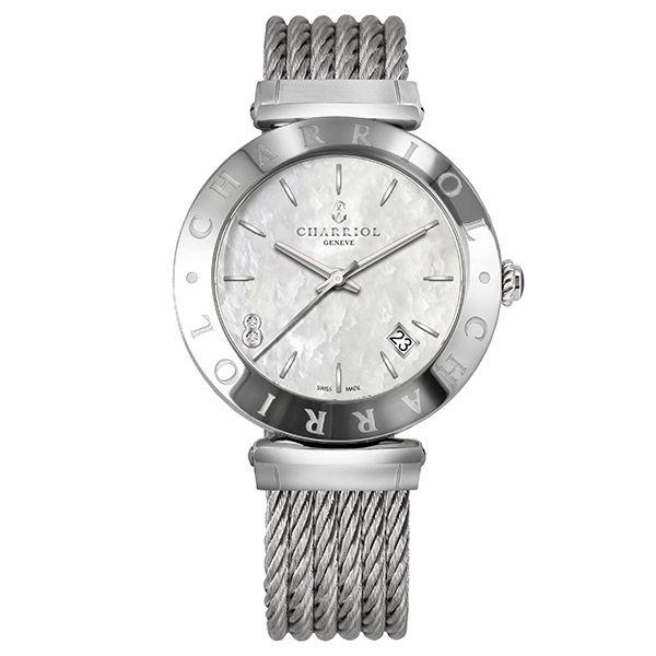 CHARRIOL夏利豪(AMS51009)Alexandre系列經典鋼索腕錶珍珠母貝面34mm