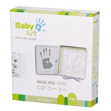 【紫貝殼】比利時【Baby Art】方形魔術紀念盒 手腳印方盒(白色) 2