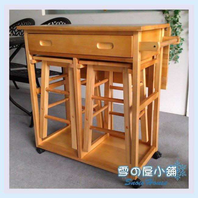 ╭☆雪之屋小舖☆╯原木收納型餐桌椅組(一桌二椅)/ 造型桌椅/組合餐桌椅/DIY自組