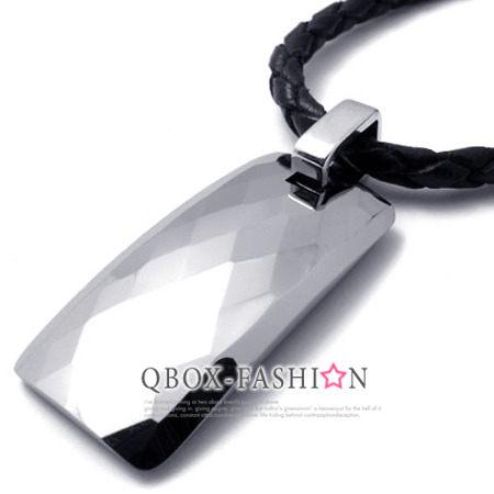 《 QBOX 》FASHION 飾品【W10020991】精緻個性鑽石鏡面雅痞長弧形鎢鋼墬子項鍊(型男專用)