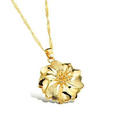 ~純銀項鍊 鍍18K金鑲鑽吊墜~ 精美螺旋花朵七夕情人節 女飾品73ck51~ ~~米蘭