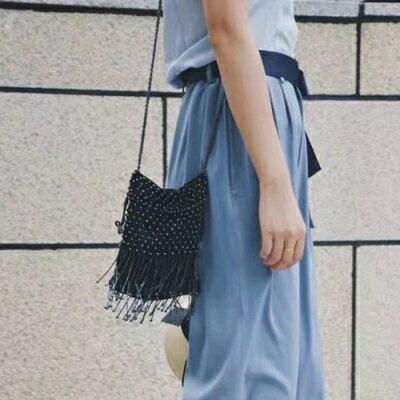 肩背包釘珠斜背包-時尚摩登個性流蘇女包包3色73so14【獨家進口】【米蘭精品】