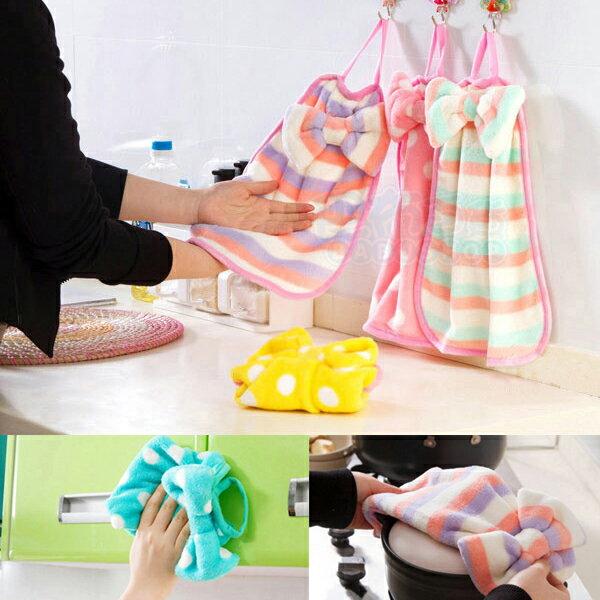 珊瑚绒蝴蝶结造型 吸水性強不掉毛 掛式擦手巾/ 厨房抹布(1入)【巴布百貨】