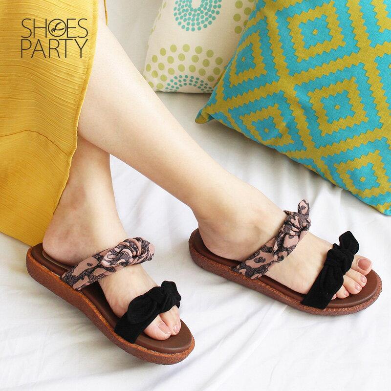 【S2-18707F】Simple+雙蝴蝶結漢堡底拖鞋_Shoes Party 1