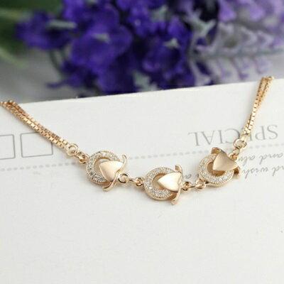 ~玫瑰金手鍊 鑲鑽純銀手環 ~ 精緻 愛心情人節生日 女飾品2色73dl26~ ~~米蘭