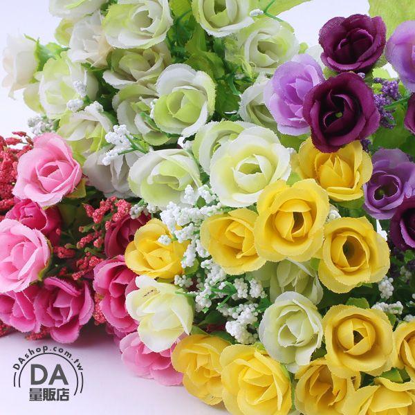 《DA量販店》4束 仿真 塑膠花 假花 造景 裝潢 佈置 21朵 玫瑰花 顏色隨機(79-3651)