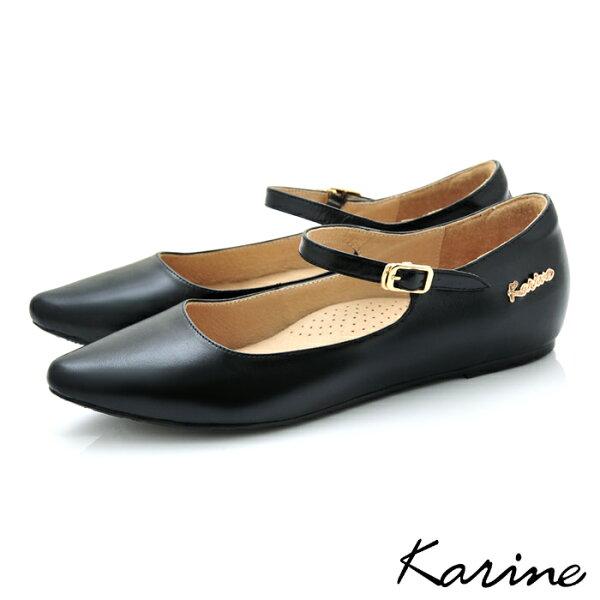 karine(MIT台灣製)全真皮尖頭繫帶內增高楔型鞋-黑色