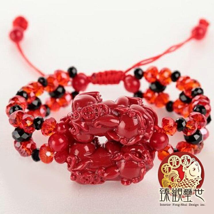 貔貅手鍊 狂銷紅珊瑚雙貔貅手鍊 開光 臻觀璽世 IS0043