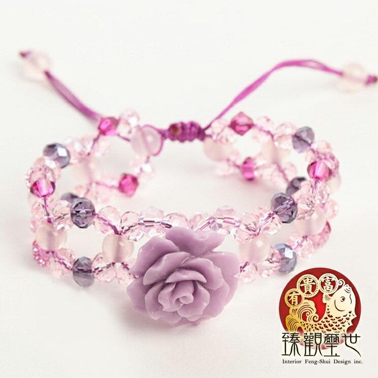 開運手鍊 愛慕紫蜜蠟玫瑰花手環  祈福  臻觀璽世 IS0260