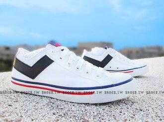 Shoestw【63U1SH19SW】PONY Shooter 帆布鞋 低筒 白黑色 男女都有