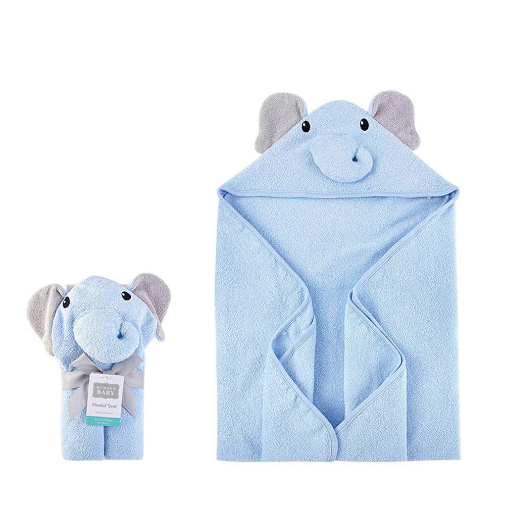 美國  luvable friends  100% 純棉嬰幼兒動物造型連帽浴巾/包巾_藍色大象(LF00428)