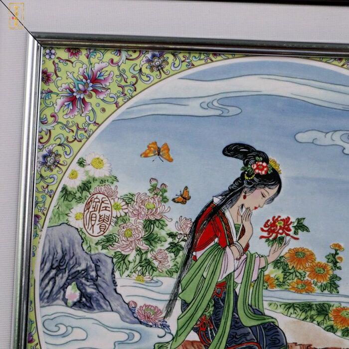 新品景德鎮瓷板畫人物仕女圖仿古做舊實木邊框客廳裝飾掛屏畫