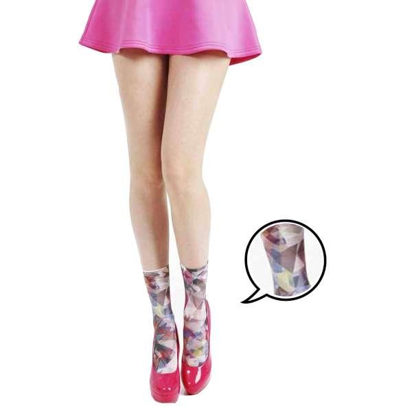 【摩達客】英國進口義大利製Pamela Mann 萬花筒印花圖紋彈性短襪/腳踝襪