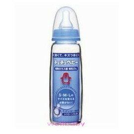 CHU CHU標準口徑玻璃藍邊大奶瓶 (240ml)