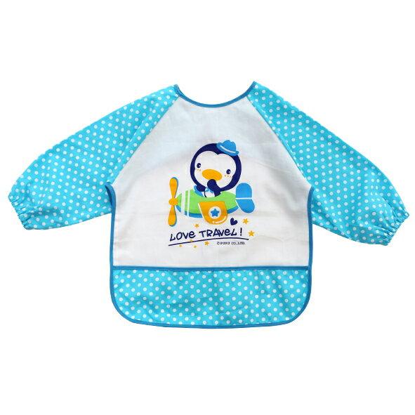 ★衛立兒生活館★藍色企鵝PUKU長袖防水圍兜衣-點點藍
