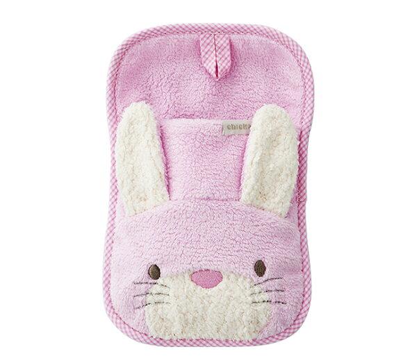 ★衛立兒生活館★奇哥吸濕快乾造型沐浴手套-(藍色小牛黃色小羊粉色小兔)