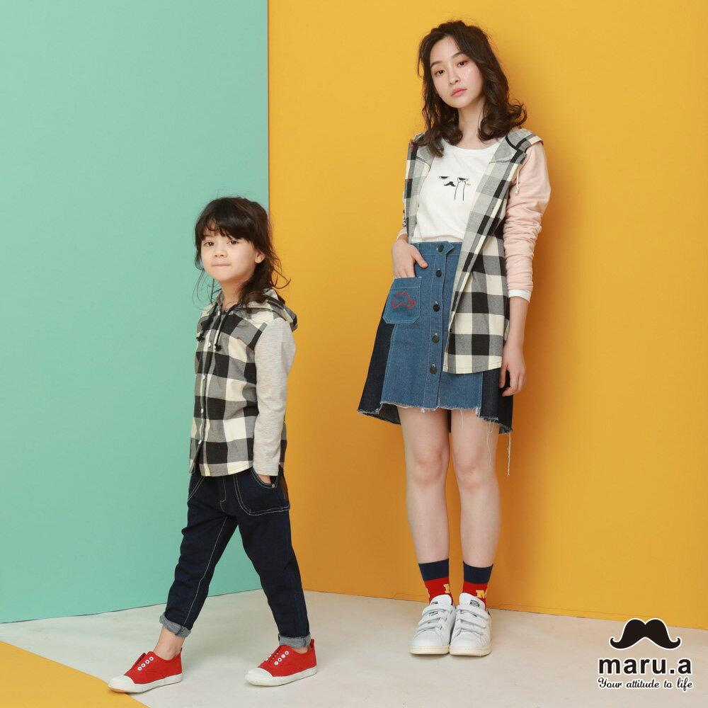 【maru.a】親子款多色印花袖格子休閒帽T-SHIRT(2色)8923112 / 8953111 3