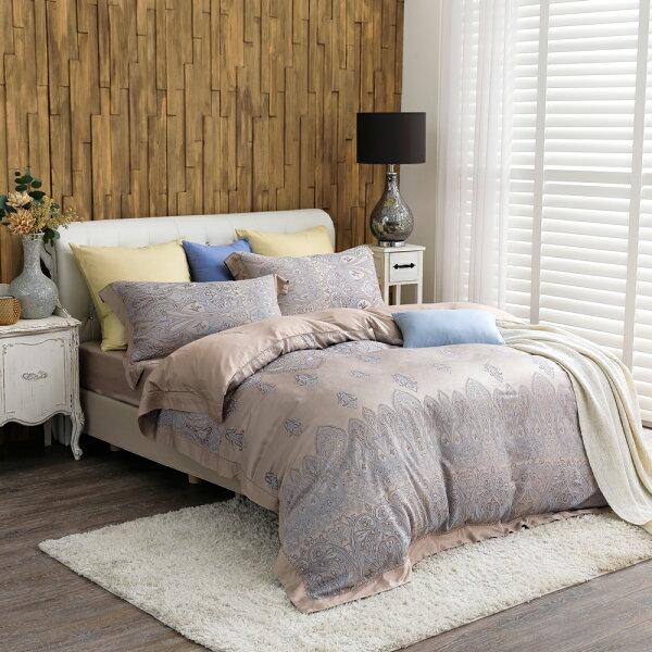 床包被套組天絲緹花四件式雙人薄被套床包組香榭戀情[鴻宇]台灣製M2556