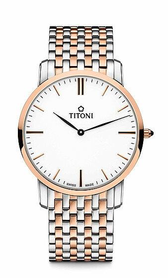 TITONI瑞士梅花錶纖薄系列TQ52918SRG-583 簡約金屬時尚腕錶/玫瑰金38mm
