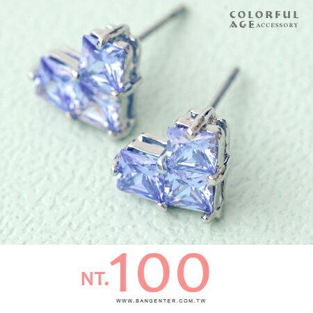 耳針耳環 甜美愛心造型 閃耀水鑽 柒彩年代【ND312】一對 - 限時優惠好康折扣
