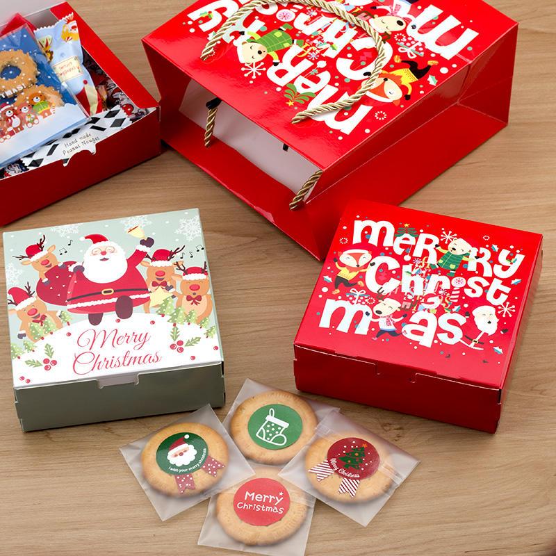 紅色圣誕姜餅盒 牛軋糖餅干 蛋黃酥月餅烘焙食品包裝紙盒 手提袋1入