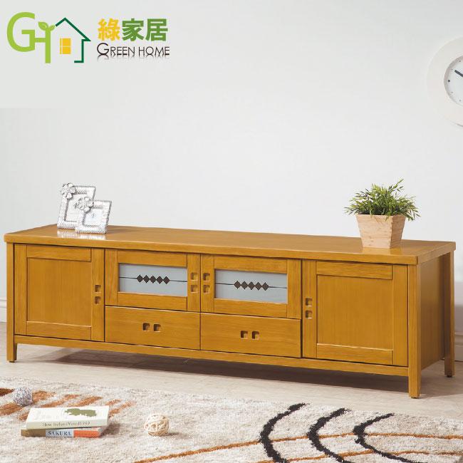 【綠家居】胡納 檜木紋6尺實木收納櫃/電視櫃(二抽屜+四門櫃設計)