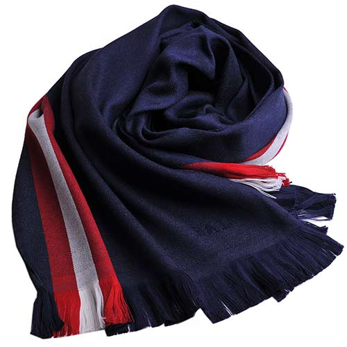 BALLY 字母LOGO 紅白紅織帶圖騰高質感羊毛圍巾(深藍)