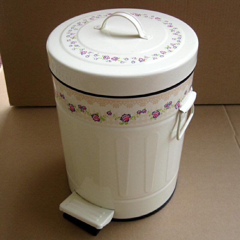 居家田園鄉村風 歐式蕾絲玫瑰踏式緩靜音垃圾桶-米黃色5L