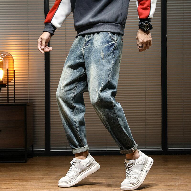 夏季新款復古寬鬆牛仔褲男日系潮牌大碼水洗百搭哈倫褲