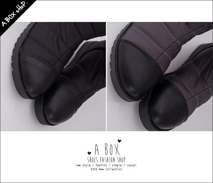 格子舖*【AA801】時尚新款魔鬼氈好穿脫 太空尼龍防潑水材質 平底中筒靴 太空靴 2色 2