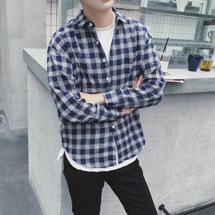 【秋冬優惠款任搭2件888】經典日系質感簡約格子造型男款百搭長袖襯衫 2