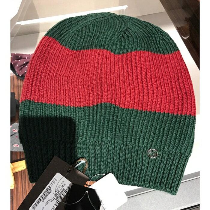 GUCCI 經典綠紅綠毛帽
